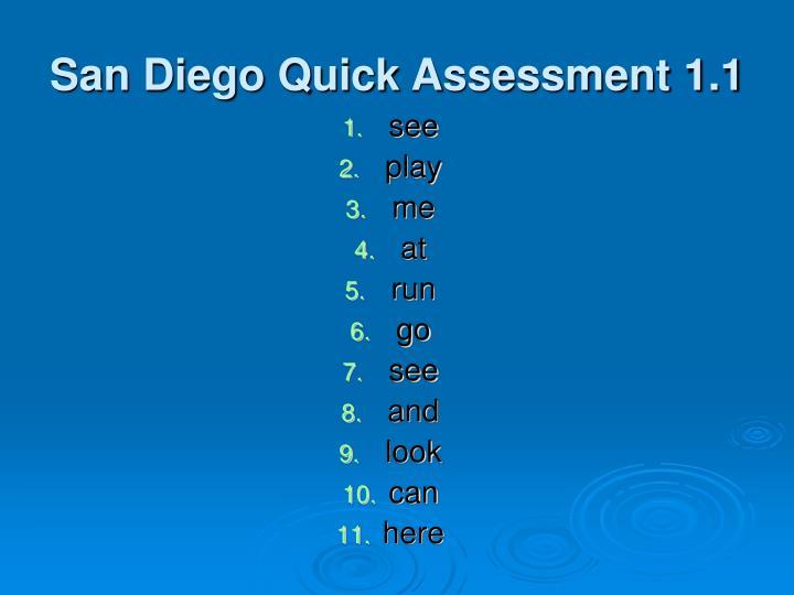 San Diego Quick Assessment 1.1