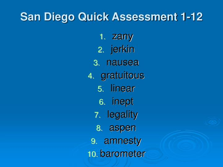 San Diego Quick Assessment 1-12