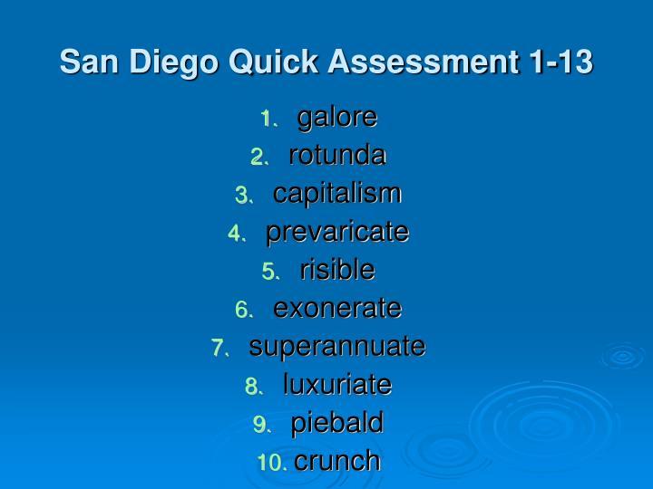 San Diego Quick Assessment 1-13