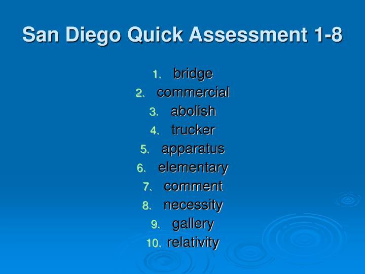 San Diego Quick Assessment 1-8