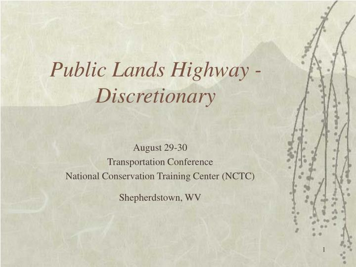 Public lands highway discretionary