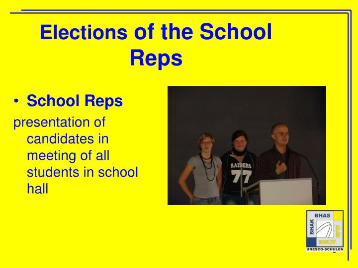 Elections of the school reps