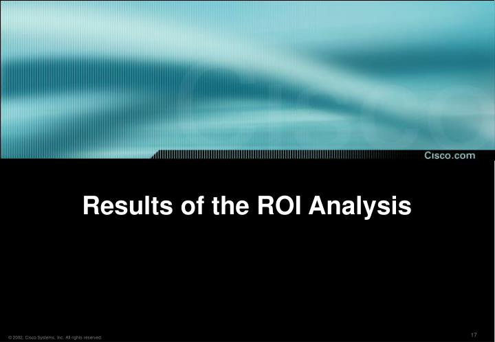 Results of the ROI Analysis