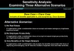 sensitivity analysis examining three alternative scenarios