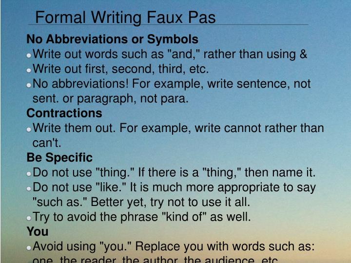 Formal Writing Faux Pas