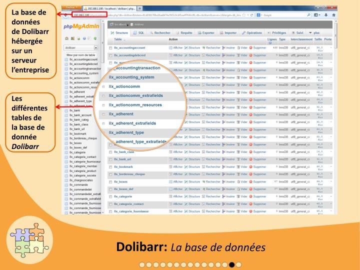 La base de données de Dolibarr hébergée sur un serveur l'entreprise