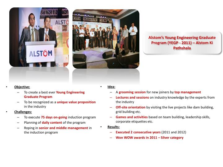 Alstom's Young Engineering Graduate Program (YEGP - 2011) – Alstom Ki Pathshala