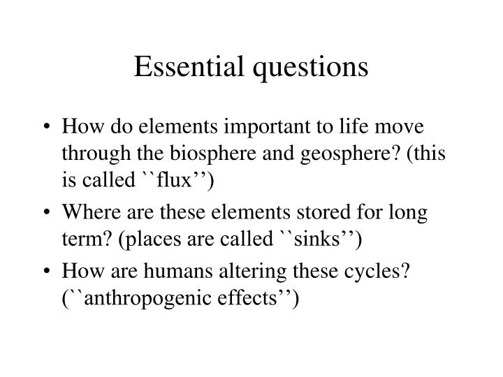 ecology essential questions