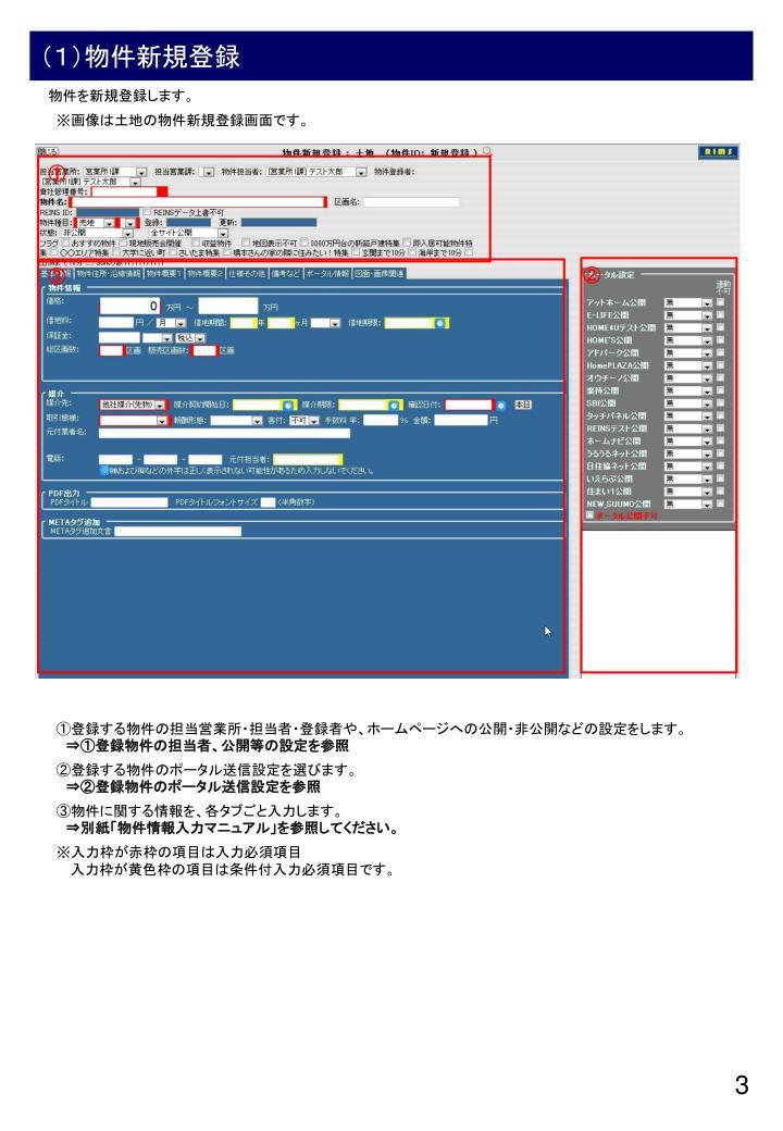 (1)物件新規登録