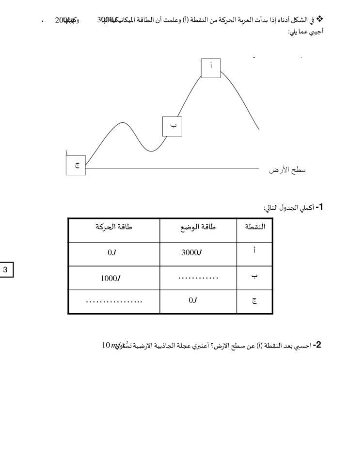 في الشكل أدناه إذا بدأت العربة الحركة من النقطة (أ) وعلمت أن الطاقة الميكانيكية لها                وكتلتها              ، أجيبي عما يلي: