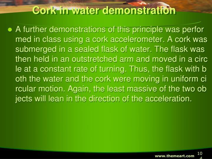 Cork in water demonstration