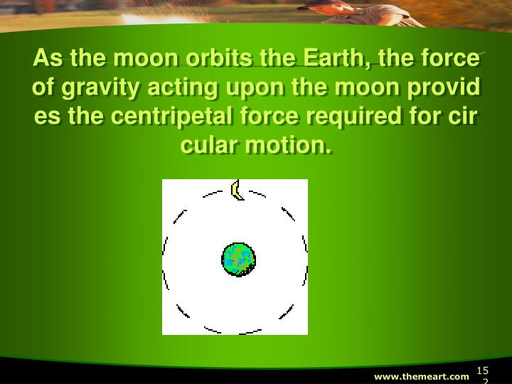 As the moon orbits the Earth, the force of gravity acting upon the moon provides the centripetal force required for circular motion.