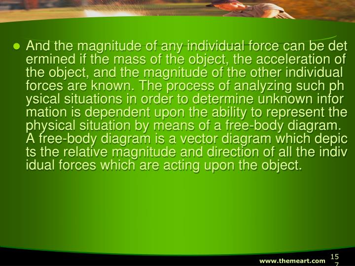 And the magnitude of any individual force can be determined if the mass of the object, the acceleration of the object, and the magnitude of the other individual forces are known. The process of analyzing such physical situations in order to determine unknown information is dependent upon the ability to represent the physical situation by means of a free-body diagram. A free-body diagram is a vector diagram which depicts the relative magnitude and direction of all the individual forces which are acting upon the object.