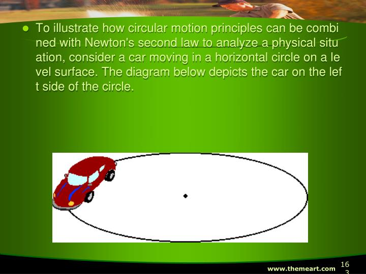 To illustrate how circular motion principles can be combined with Newton's second law to analyze a physical situation, consider a car moving in a horizontal circle on a level surface. The diagram below depicts the car on the left side of the circle.
