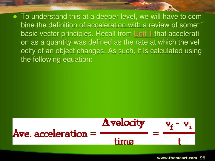 To understand this at a deeper level, we will have to combine the definition of acceleration with a review of some basic vector principles. Recall from