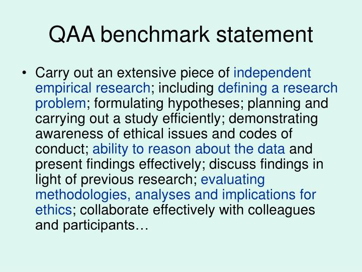 QAA benchmark statement