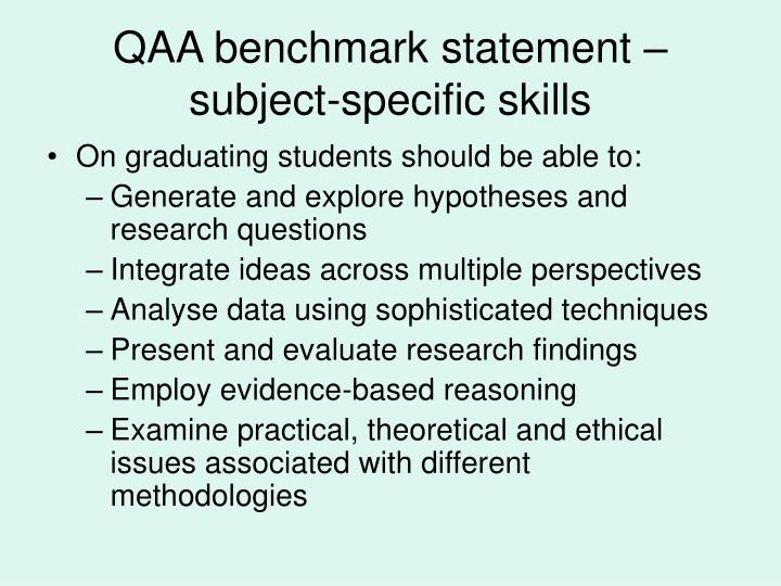 QAA benchmark statement – subject-specific skills