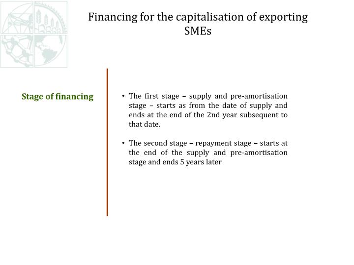 Financing for the capitalisation of exporting