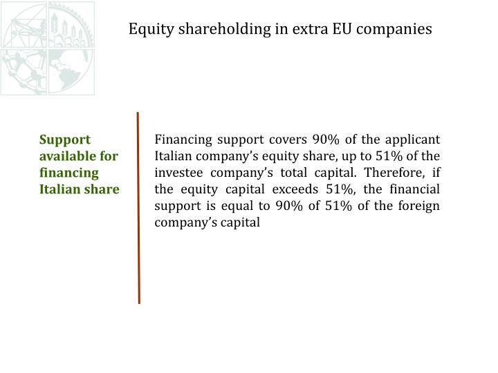 Financing support covers 90% of the applicant Italian company's equity share, up to 51% of the