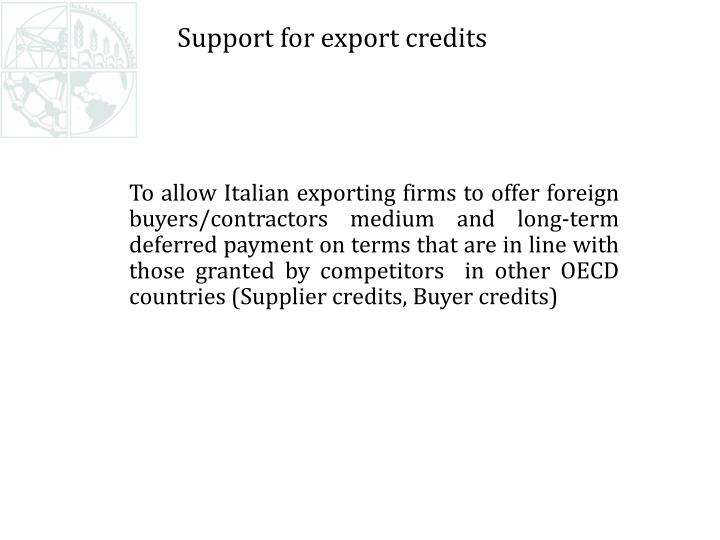 Support for export credits