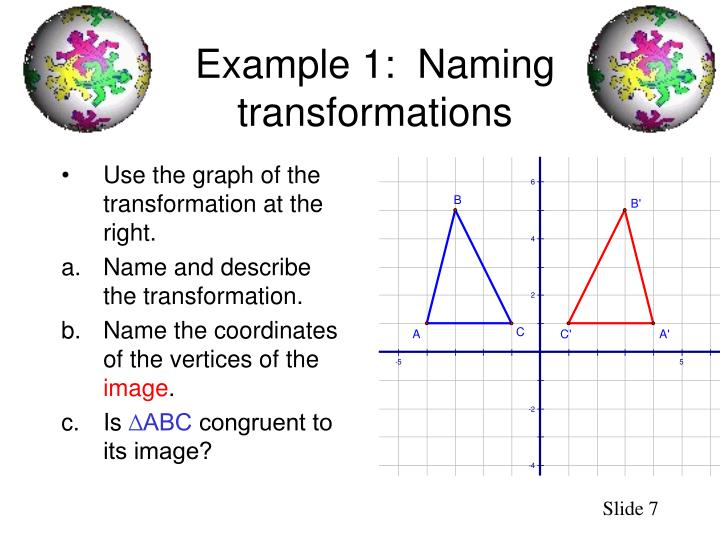 Use the graph of the transformation at the right.