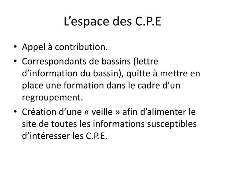 L'espace des C.P.E