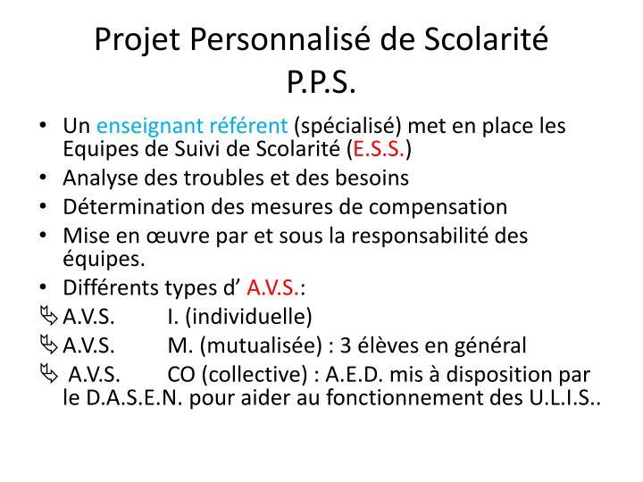 Projet Personnalisé de Scolarité