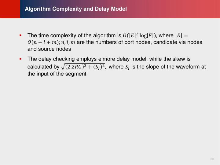 Algorithm Complexity and Delay Model