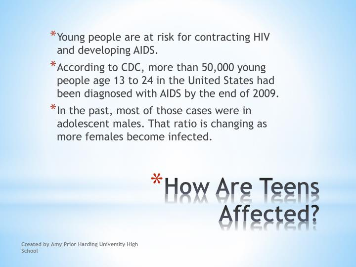 Young people are at risk for contracting HIV and developing AIDS.