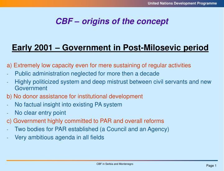CBF – origins of the concept