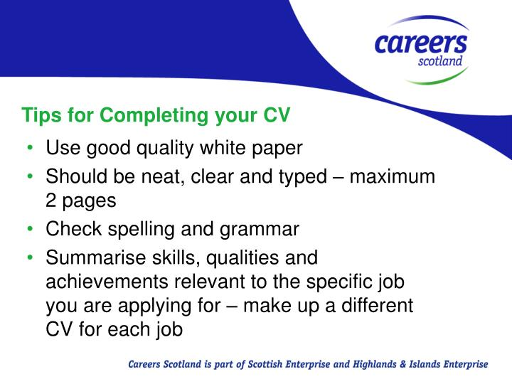 Tips for Completing your CV
