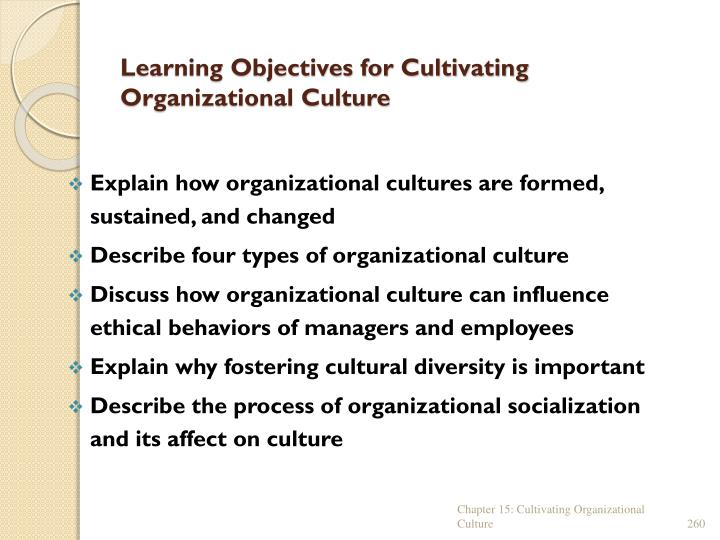 Learning Objectives for Cultivating Organizational Culture