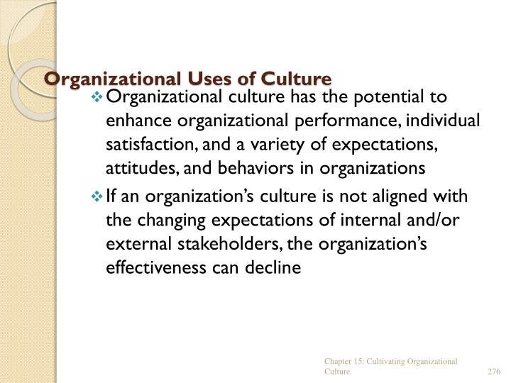 Organizational Uses of Culture