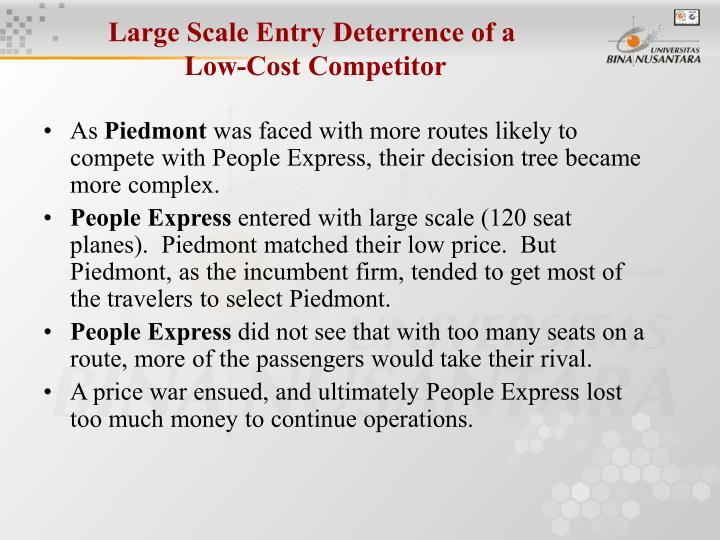 Large Scale Entry Deterrence of a