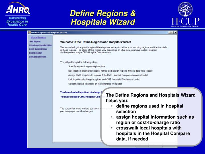 Define Regions & Hospitals Wizard