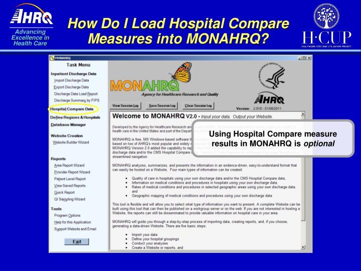 How Do I Load Hospital Compare Measures into MONAHRQ?