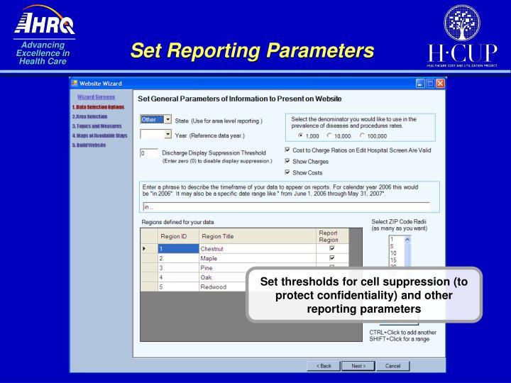 Set Reporting Parameters