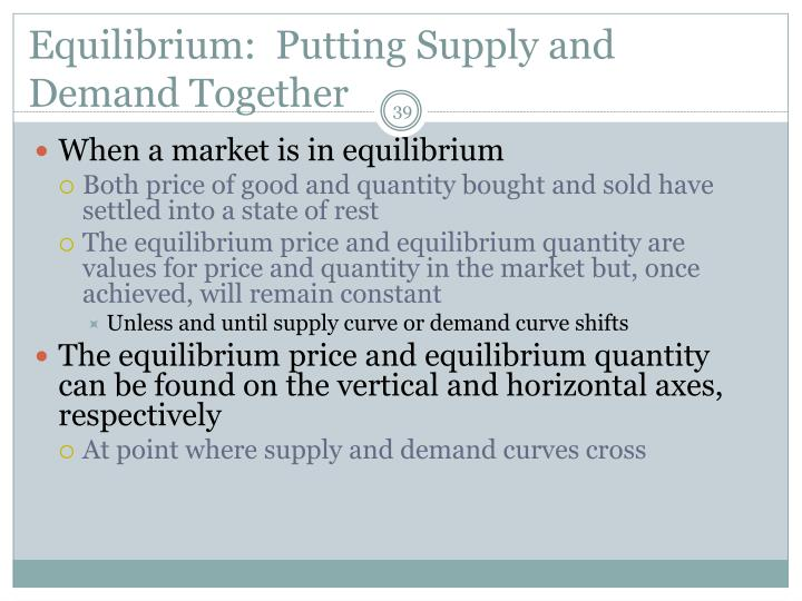 Equilibrium:  Putting Supply and Demand Together