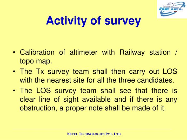 Activity of survey