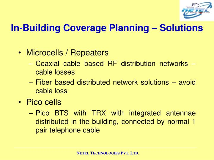 In-Building Coverage Planning – Solutions