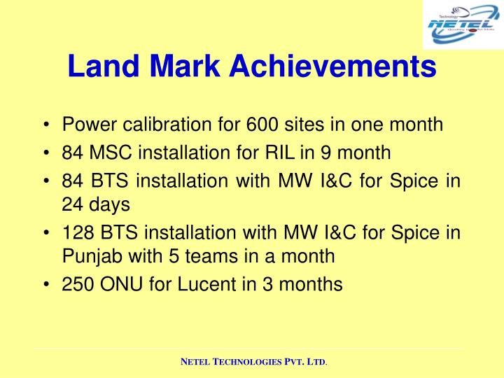 Land Mark Achievements