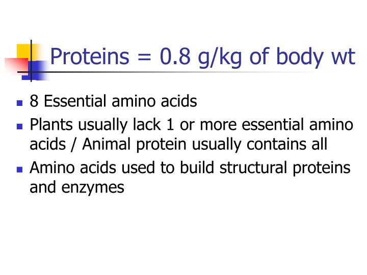 Proteins = 0.8 g/kg of body wt