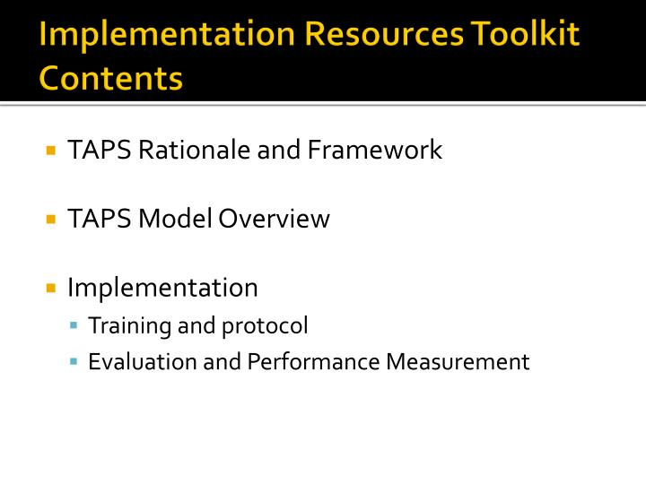 Implementation resources toolkit contents
