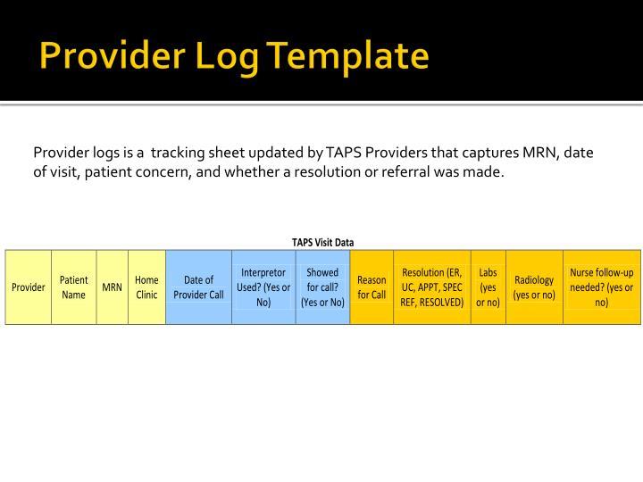 Provider Log Template