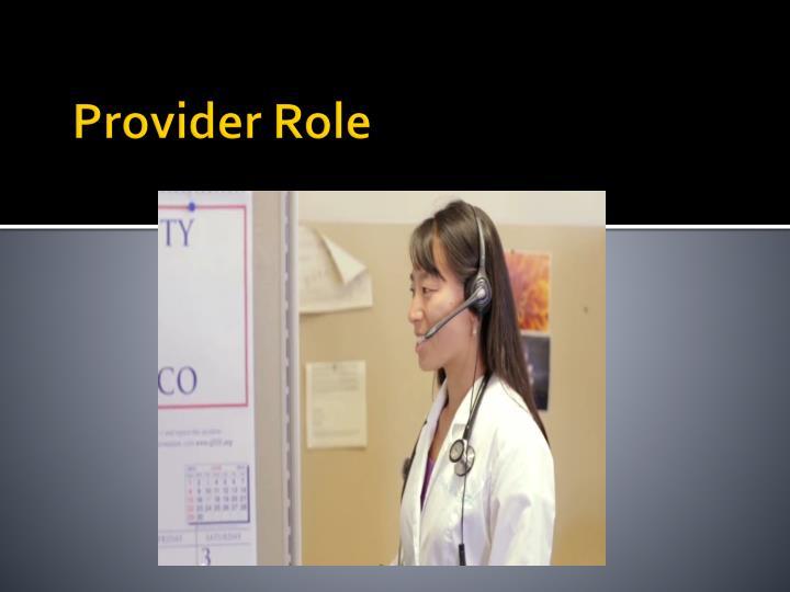 Provider Role