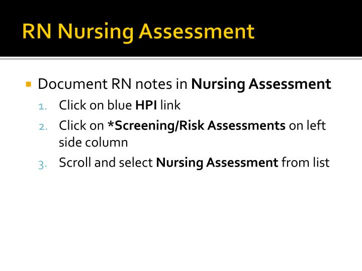 RN Nursing Assessment