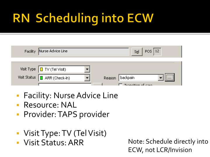RN  Scheduling into ECW