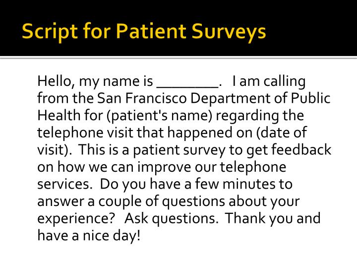 Script for Patient Surveys