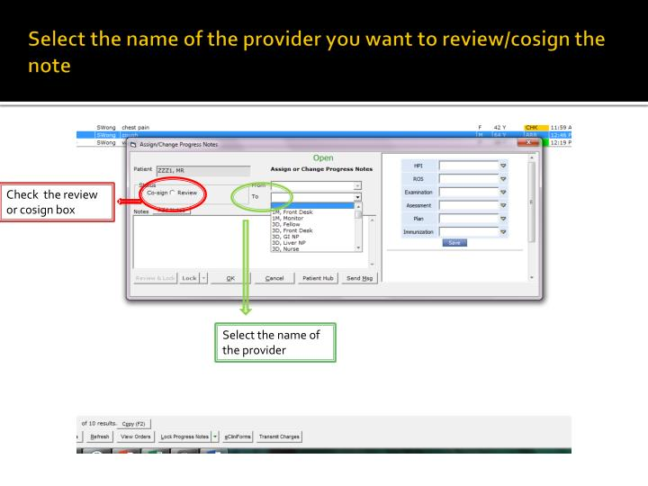 Select the name of the provider you want to review/cosign the note