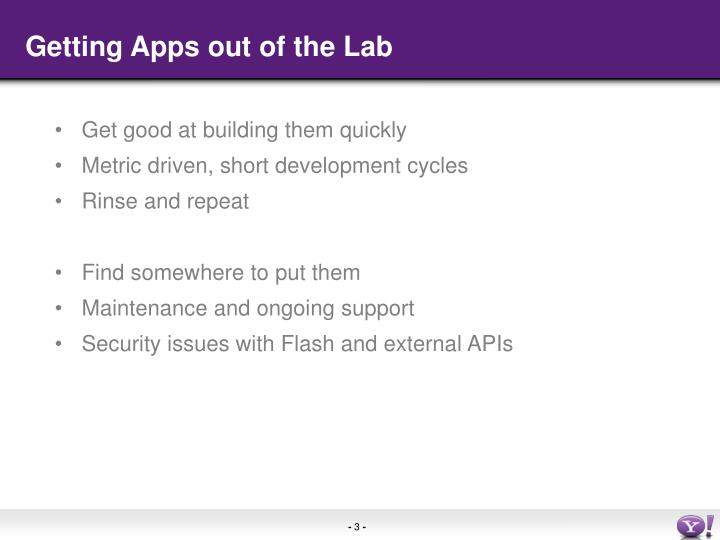 Getting Apps out of the Lab